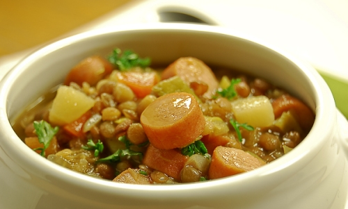 Lentil soup with sausages