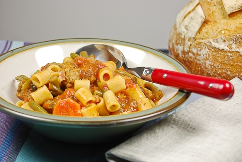 rustic pasta and meat ball soup